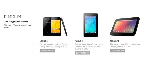 Nexus 4 & Nexus 10 on sale in Google Play
