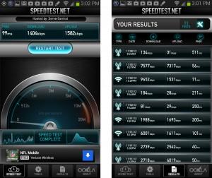 Samsung Galaxy Note 2 4G LTE Internet Speedtest Results