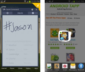Samsung Galaxy Note II S Pen Quick Commands and Cropping