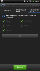 Smart Volume Control + - Headphone control mode