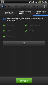 Smart Volume Control + - Headphone control mode