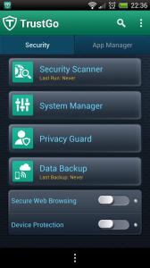 TrustGo Antivirus - Menu