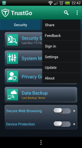 TrustGo Antivirus - Menu button
