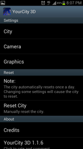 YourCity 3D Settings