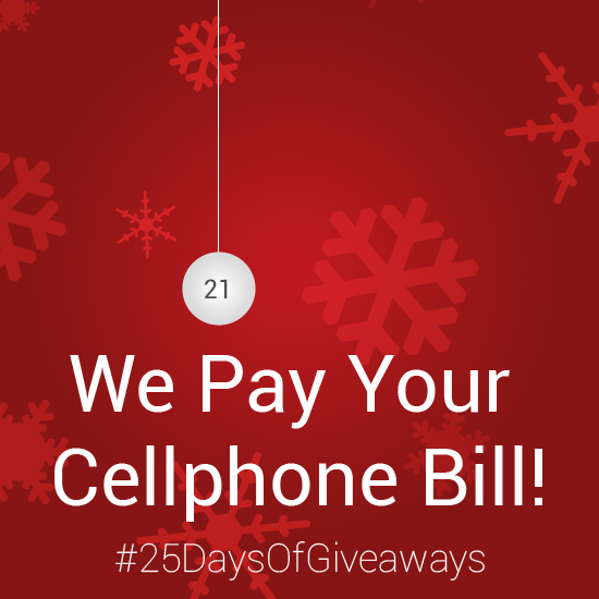 Day 21: #25DaysOfGiveaways – AndroidTapp.com Pays Your Cellphone Bill!