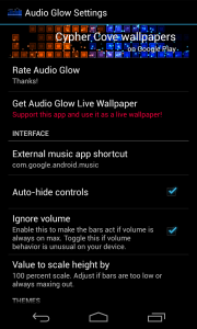 Audio Glow Music Visualizer - Settings 1