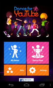 Dance for YouTube - Main menu