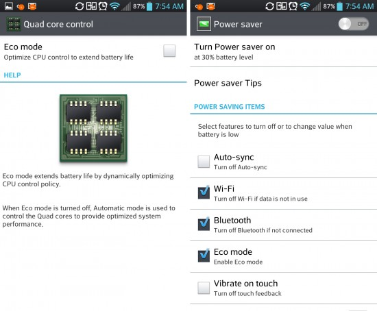 LG Optimus G Eco and Power Saver Modes