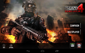 Modern Combat 4 Zero Hour Choose Campaign or Multiplayer Mode