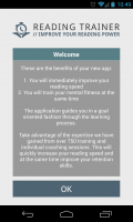 Reading Trainer - Welcome screen