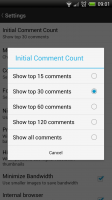 Reddit Sync Pro - Settings, comment count