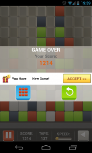 Square Smash Tetris Free - Game over