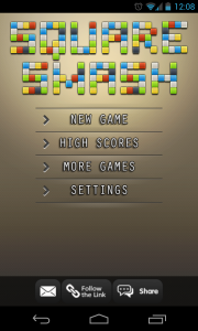 Square Smash Tetris Free - Main menu