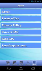 Toon Goggles - More menu