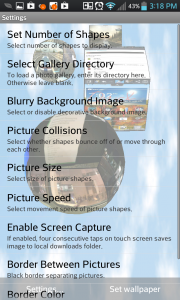 3D Pictures Live Wallpaper Settings