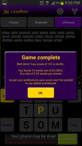 Lexathon Word Jumble Game Complete