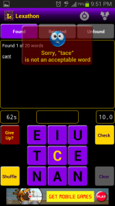 Lexathon Word Jumble Incorrect Word