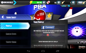 PBA Bowling Challenge Connect to Facebook