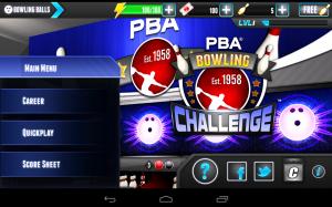 PBA Bowling Challenge Main Menu
