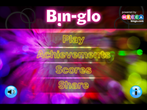 Bin-Glo Start Screen