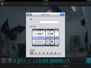 Dropcam for iPad Save Clip