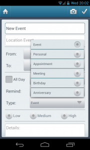 Simple Organizer Pro - Set event type