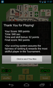 Solitaire Mahjong - Game complete