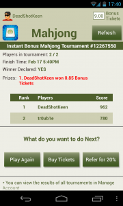 Solitaire Mahjong - Game won
