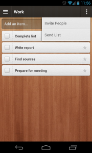 Wunderlist 2 - List menu