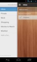 Wunderlist 2 - Slide out navigation panel