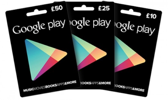 Google Play Gift Cards Available in the UK [Win £25 Gift Card]