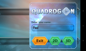 Quadrogon - Intro screen, enter name