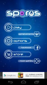 Sporos Start Screen