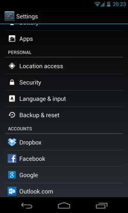 Settings list, just clock in 'Security'