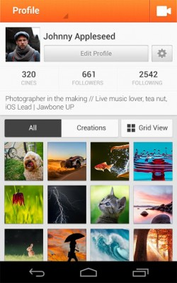 Cinemagram for Android - Profile