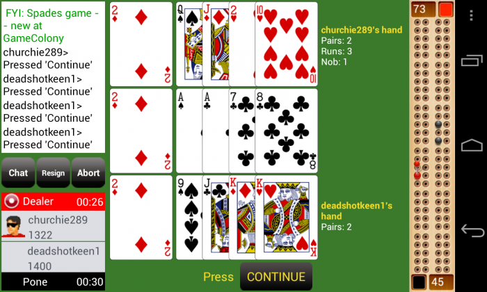 Cribbage Live – an online multi-player card game