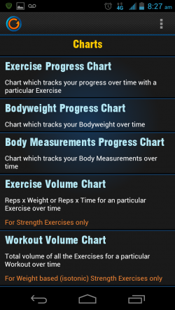 Gymprovise Gym Workout Tracker Charts