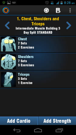 Gymprovise Gym Workout Tracker Chest Exercise Details