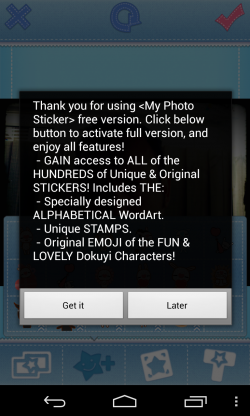 My Photo Sticker - Message for letters and stickers that require an in-app purchase