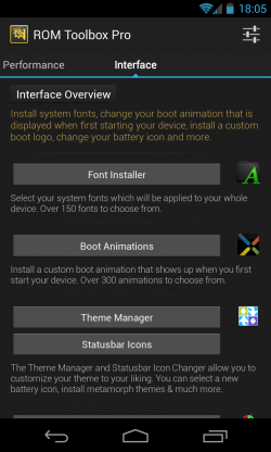 ROM Toolbox Pro - Interface customisation