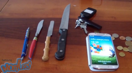 How scratch-proof will the Samsung Galaxy S4 be when you buy it? Watch video it survives coins, keys, & knives!