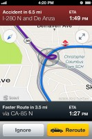 Scout for Phones - Alternate Route Shown on Nav Screen