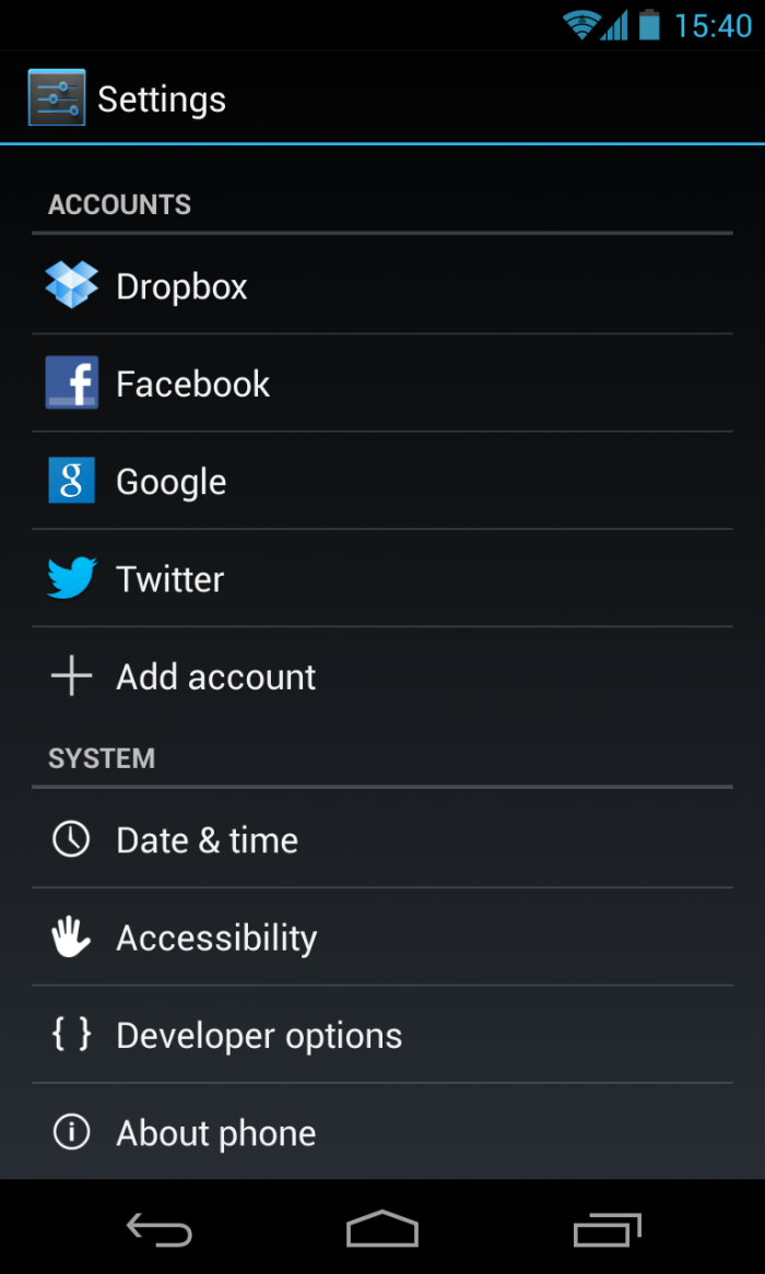 Add more accounts to your device from this screen.