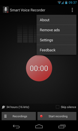 Smart Voice Recorder - Menu