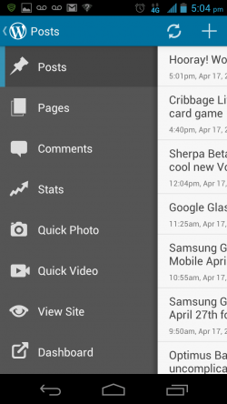 WordPress for Android - Menu