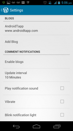 WordPress for Android - Settings