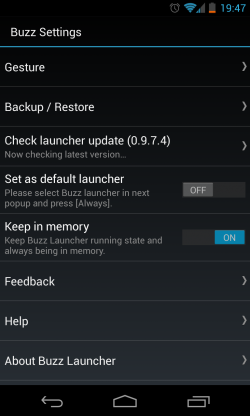 Buzz Launcher - Buzz settings