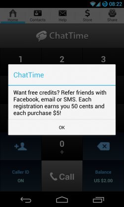 ChatTime - Earn more credits by sharing