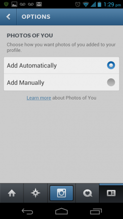 Instagram New Photos of You Feature - Set to Automatic