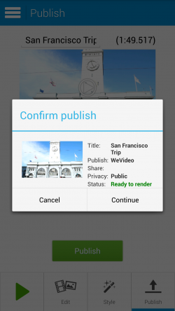 WeVideo Video Editor - Confirm Publish